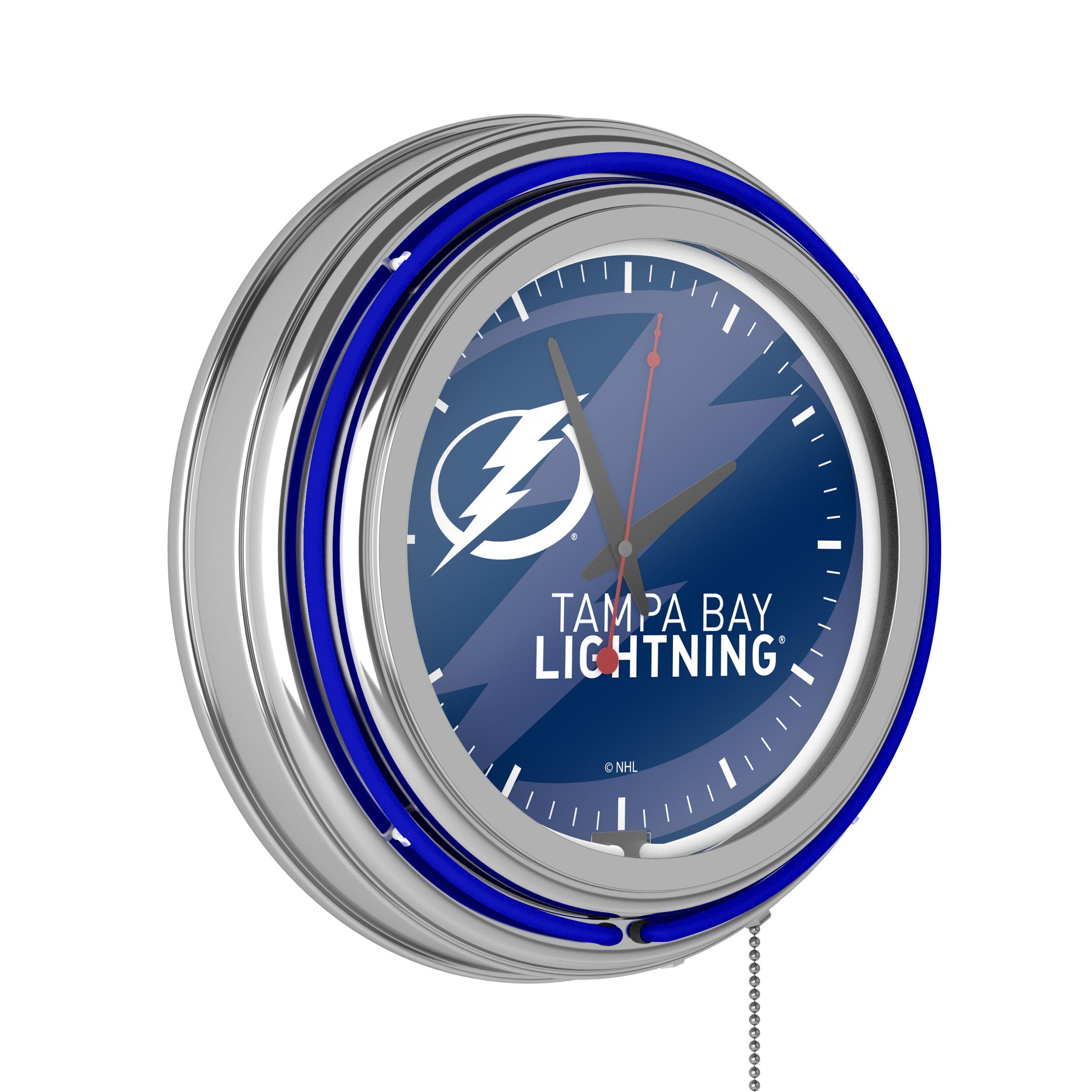 Nhl Chrome Double Rung Neon Clock Watermark Tampa Bay Lightningi Walmart Com Walmart Com