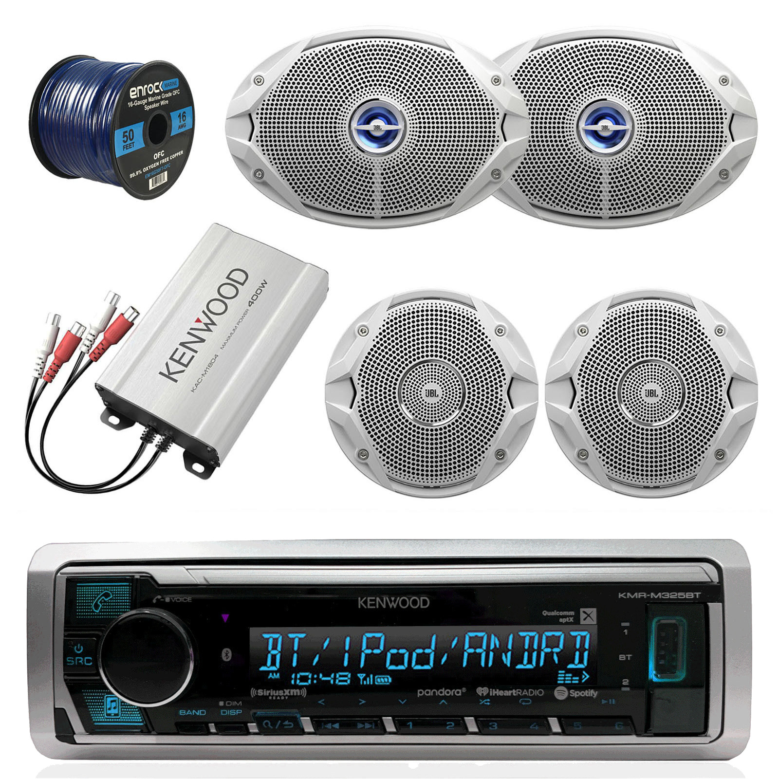 "Kenwood KMR-M325BT Bluetooth Marine Audio Receiver Bundle Combo With Compact 400-Watt Amplifier + 2x JBL 6x9"" 2-Way Coaxial Speakers + 2x JBL 6.5"" Inch Boat Speakers + Enrock 50 Foot 16g Speaker Wire"