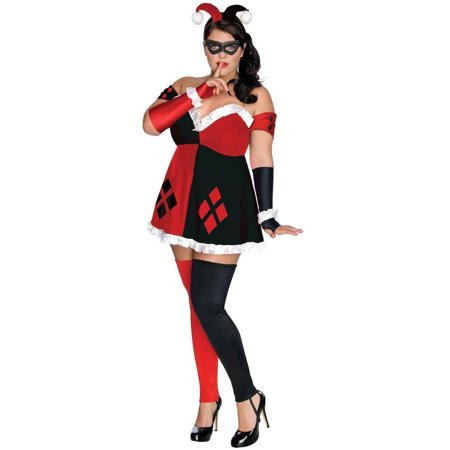 Superheroes And Villain Costumes (DC Comics Super Villains Harley Quinn Women's Plus Size Adult Halloween Costume, Women's)