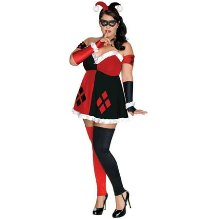 DC Comics Super Villains Harley Quinn Women's Plus Size Adult Halloween Costume, Women's Plus](Harley Quinn Arkham City Halloween Costume)
