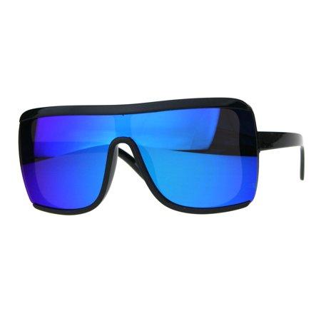 Oversize Color Mirror Shield Robotic Futuristic Sunglasses Teal - Teal Sunglasses