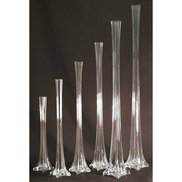 Tall Eiffel Tower Glass Vase Centerpiece, 20-inch, Clear