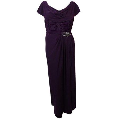 Patra New Purple Womens 16w Plus Embellished Drape Neck Ball Gown