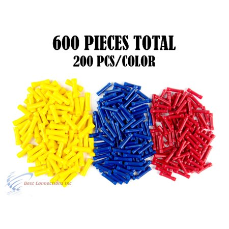 600 PCS Red Blue Yellow Vinyl Butt Connector 22-10 Gauge 12V Electrical