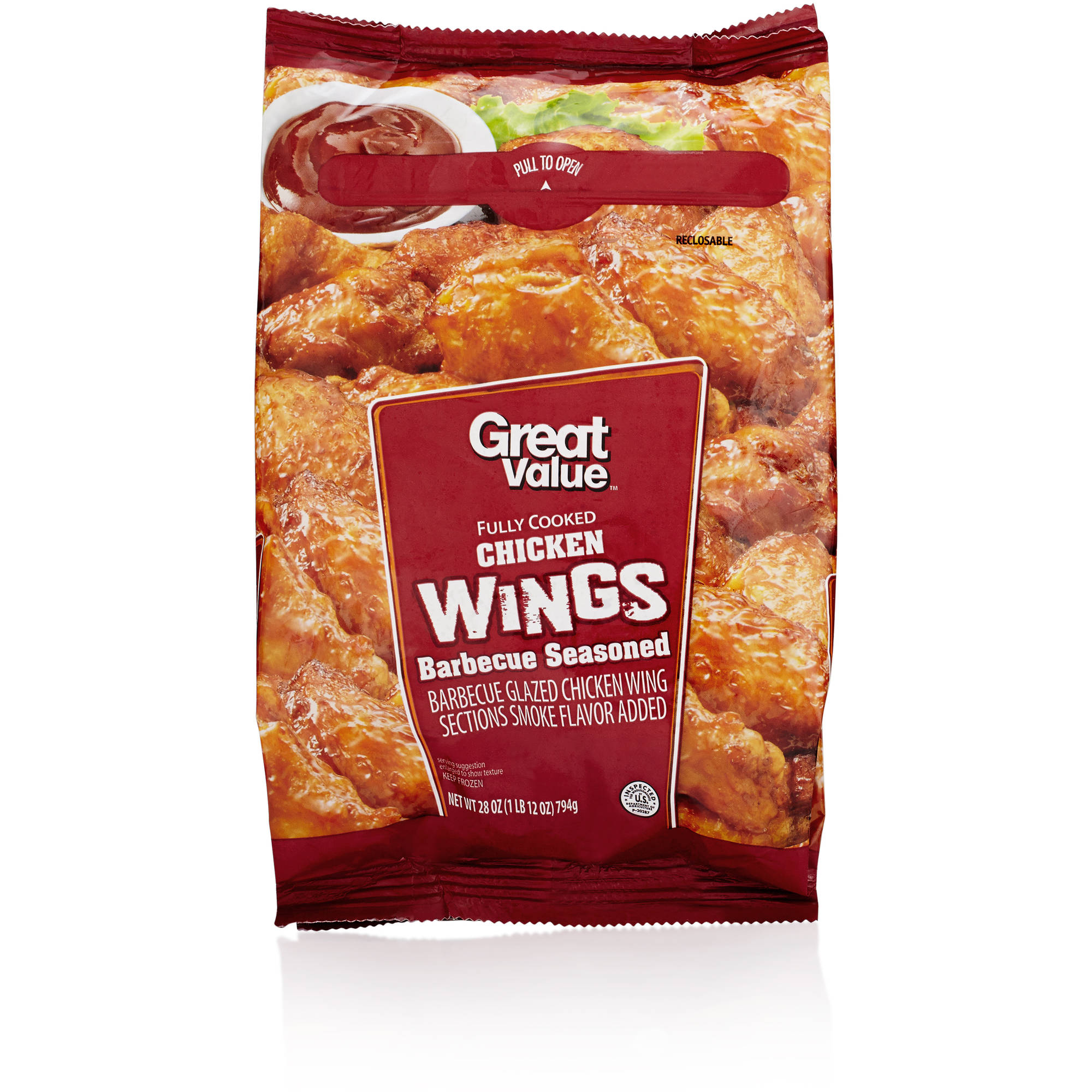 Great Value Barbeque Seasoned Chicken Wings, 28 oz