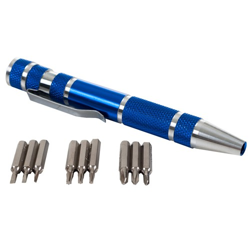 Wideskall® 9 Pieces Aluminum Mini Precision Screwdriver Set Phillips Slotted Torque Repair Kit (Blue)