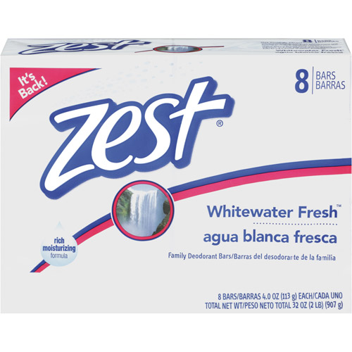 Zest Whitewater Fresh Family Deodorant Soap, 4 oz, 8ct