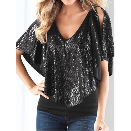 Sequin Tunic Blouse - Women Solid Color Sequin Short Sleeve Ruffle Blouse Tunic Cold Shoulder T-Shirt