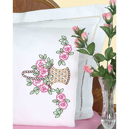 Jack Dempsey Basket Of Flowers Stamped Pillowcases With White Perle Edge
