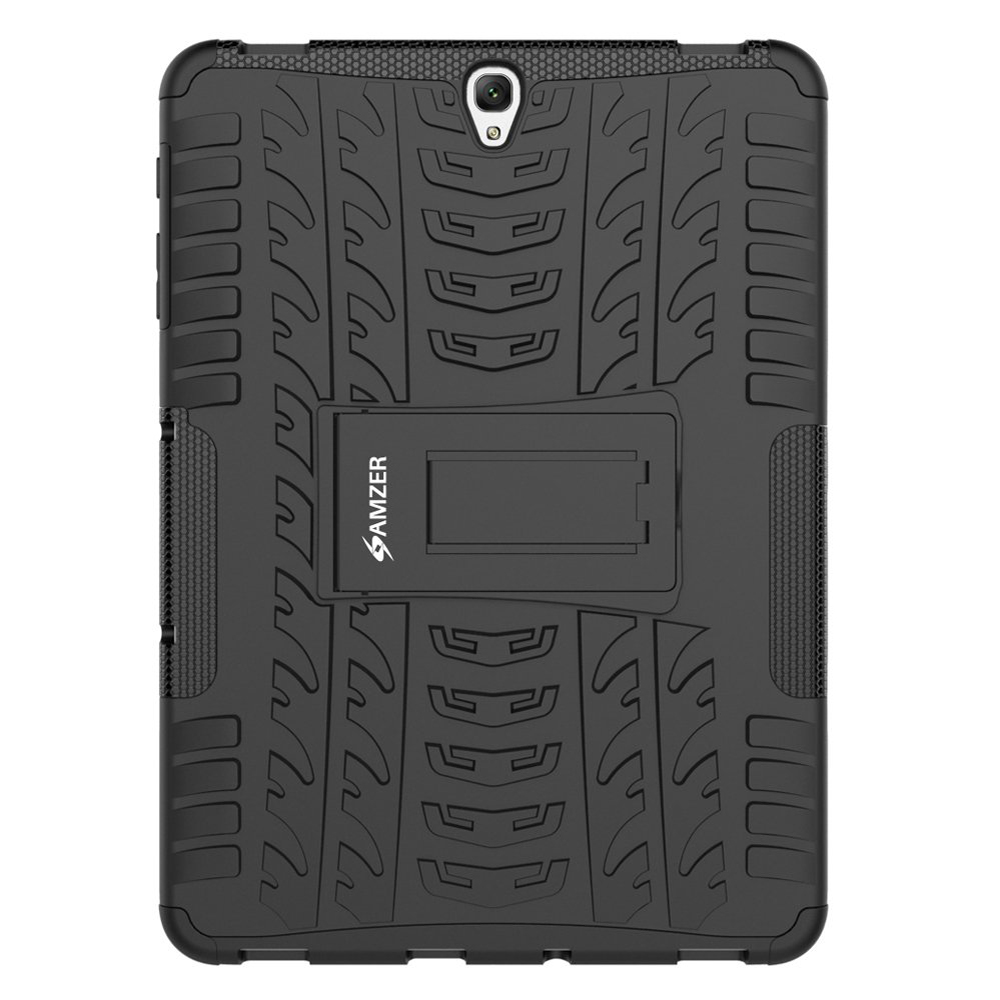 Amzer Hybrid Shockproof Heavy Duty Hybrid Warrior Back Case - Black/ Black for Samsung Galaxy Tab S3 9.7 SM-T820/Samsung Galaxy Tab S3 9.7 SM-T825