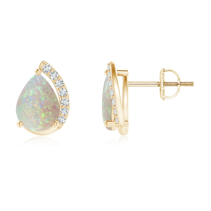 Angara Solitaire Pear Opal Swirl Earrings with Diamond Accents C20XP1w