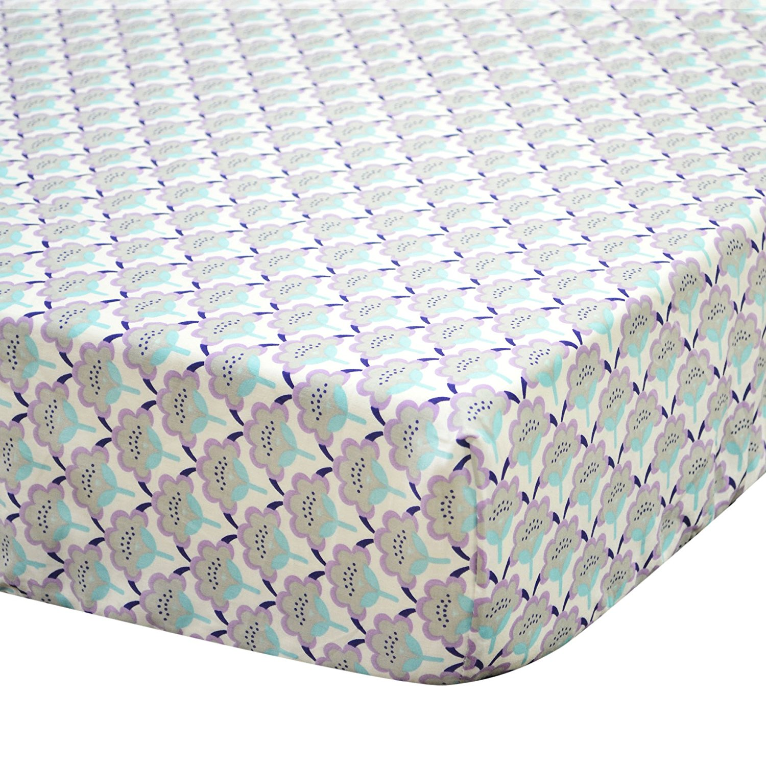 Zoe Scallop Floral Cotton Crib Fitted Sheet, Made from 100% cotton sateen fabrics; machine wash and dry By The Peanut Shell Ship from US