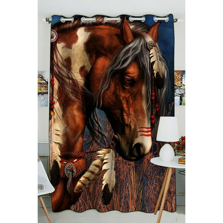 GCKG Indian War Horse Blackout Curtains Window treatment Panel Drapes 52(W) x 84(H) inches (One Piece) ()