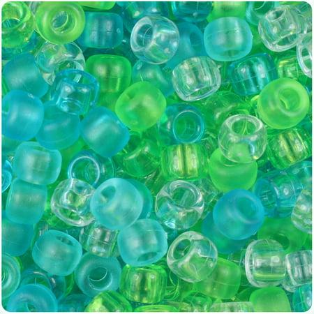 BeadTin Seaglass Mix 9mm Barrel Pony Beads