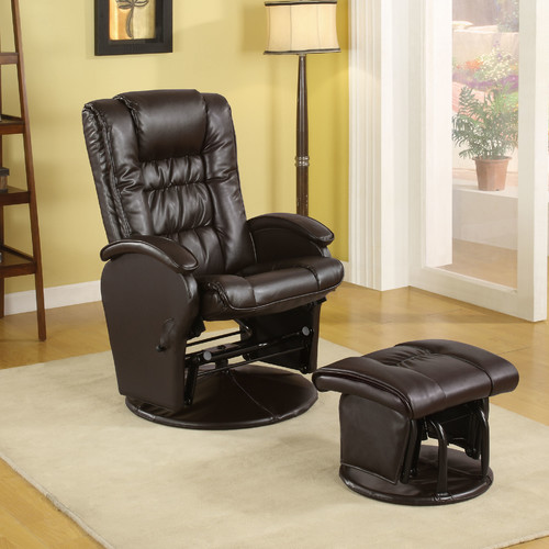 Symple Stuff Leather Glider Recliner with Ottoman