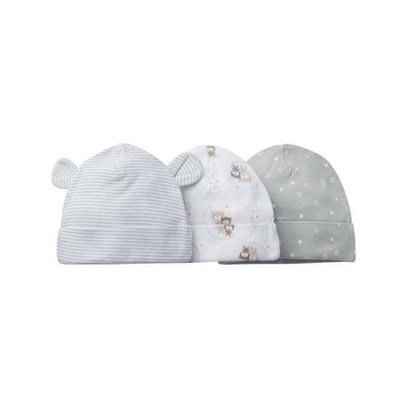 (Newborn Baby Boy or Girl Unisex Assorted Caps, 3-Pack)