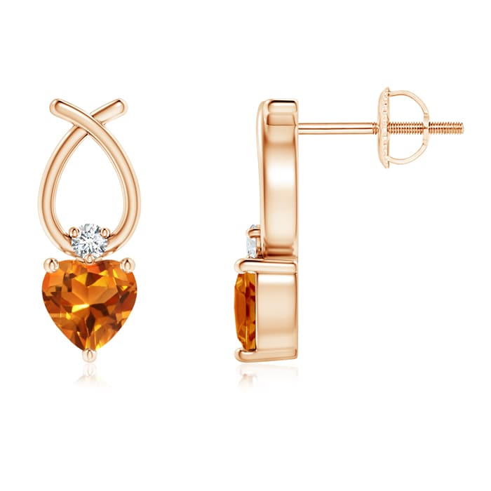 Angara Heart Shaped Citrine Ribbon Earrings with Diamond ue4bsy