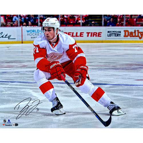"Dylan Larkin Detroit Red Wings Autographed 16"" x 20"" White Jersey Skating Photograph No Size by Fanatics Authentic"