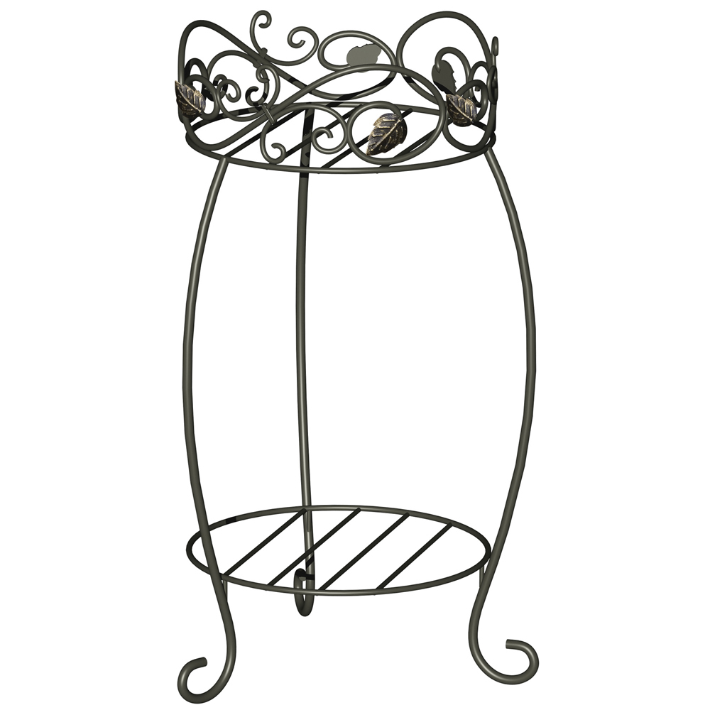 Panacea PAN89172 Panacea Plant Stand 21. 5 inch Scroll and Ivy Blk Brushed Bronz