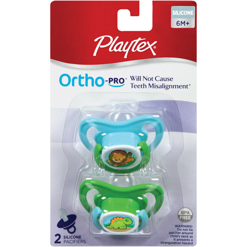 Playtex Ortho-Pro Pacifier, Older Baby (6mo+), 2-Pack, BPA-Free (Design May Vary)