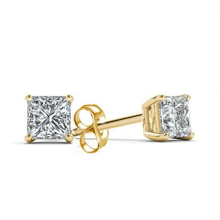 1/4 Carat T.W. Princess-Cut Diamond 14kt Yellow Gold Stud Earrings