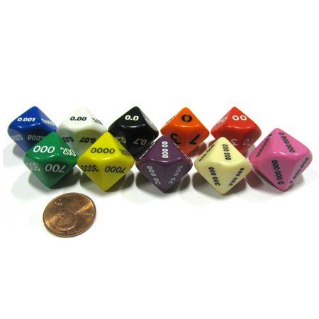 Koplow Games Set of 10 Place Value D10 Dice - Number Die for Counting 0.000 to 9,999,999 #184xx ()