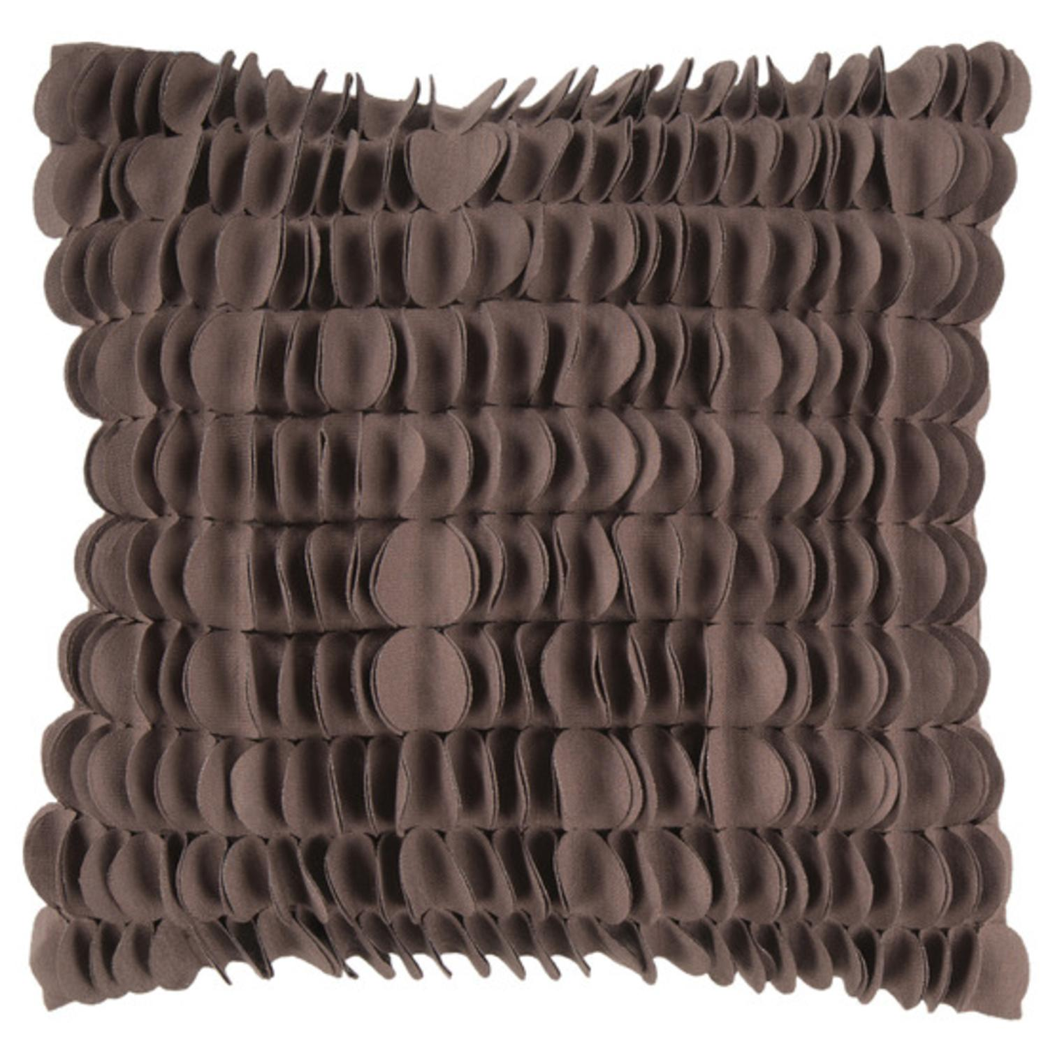 "18"" Coffee Brown Dimensional Applique Scalloped Decorative Throw Pillow"