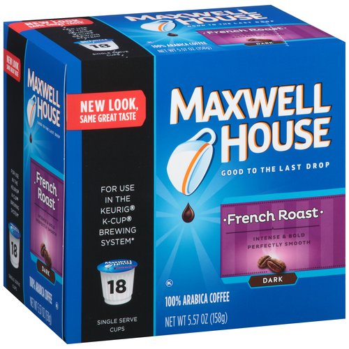 Maxwell House Cafe Collection French Roast Dark Roast Coffee Single Serve Cups, 18 count