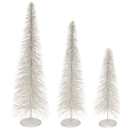 set of 3 white glittered bottle brush christmas tree table decor - Bottle Brush Christmas Tree