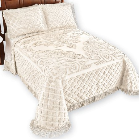 Bed Leopard Chenille - Royalty Elegant Scroll and Checkered Pattern Chenille Bedspread with Fringe Border, King, Ivory