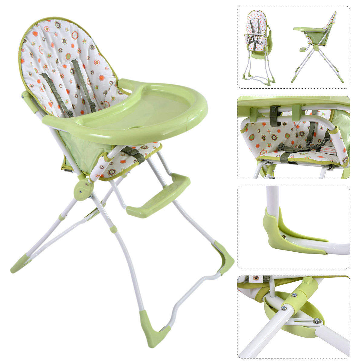 Baby High Chair Infant Toddler Feeding Booster Seat Folding Safety Portable by Costway