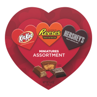 Hershey's, Reese's, & Kit Kat Milk Chocolate Miniatures Valentine's Assortment Candy Heart Box, 6.4 Oz.