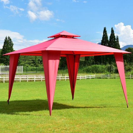 """GHP 137.8""""x137.8""""x106.3"""" Steel & Polyester Fabric Outdoor Slant Legs 2-Tier Canopy Tent"""