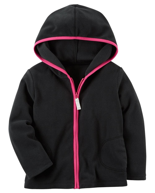 Carter's Big Girls' Fleece Zip-Up Hoodie; Black With Pink Trim, 7-Kids