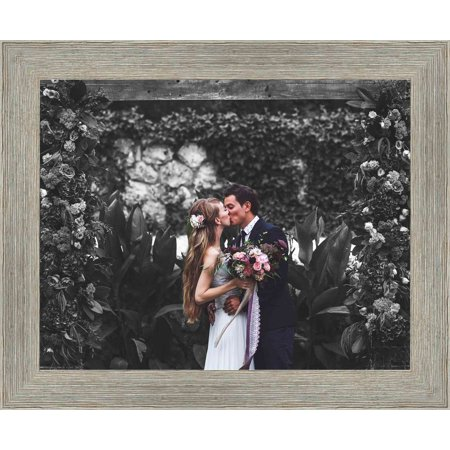 15 x 61 cm (6x24 inches) Grey Barnwood Picture Frame with UV Acrylic & Foam Board Back, & Hardware - image 2 de 2