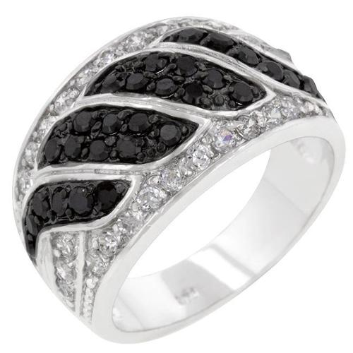 Kate Bissett R08112T-C03-09 Genuine Rhodium Plated Cocktail Ring with Round Cut Clear CZ and Round Cut Black Onyx in a