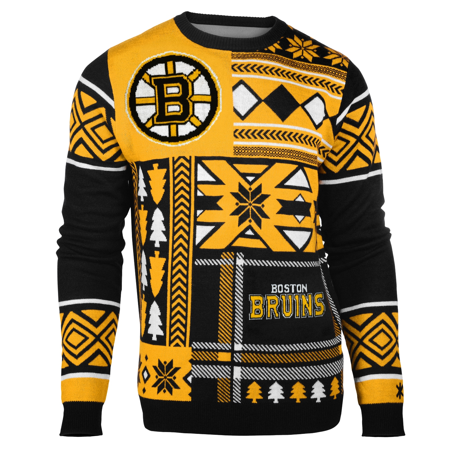 "Boston Bruins Men's NHL ""Patches"" Ugly Sweater"