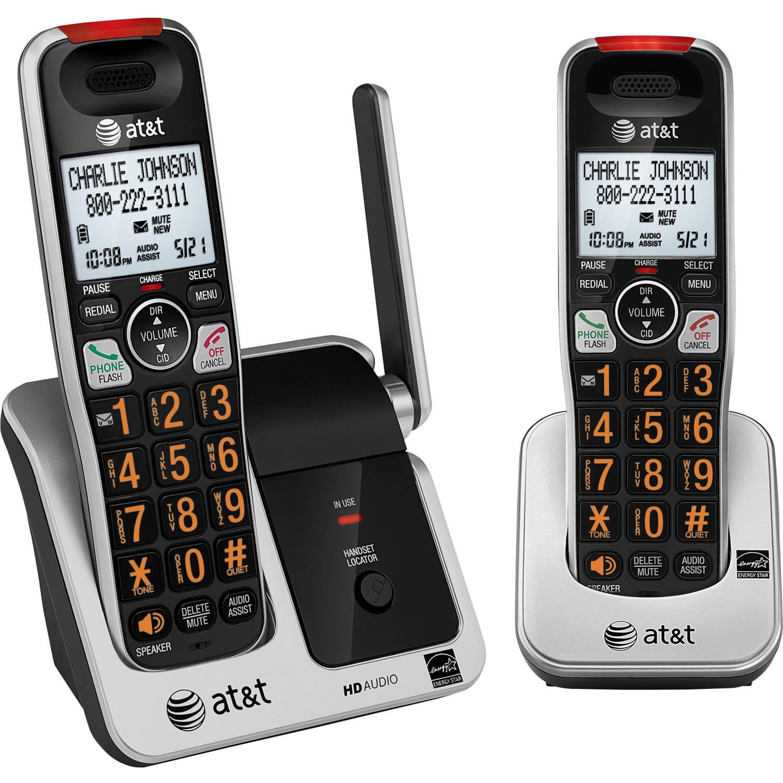 At T Crl81212 Dect 6 0 Phone With Caller Id Call Waiting 2 Cordless Handsets Black Silver Walmart Com Walmart Com