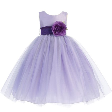 Baby Girls Lilac Purple Sash Poly Silk Tulle Flower Girl Dress 6-12M