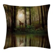 Nature Throw Pillow Cushion Cover, Baby Deer in the Forest with Reflection on Lake Foggy Woodland Graphic, Decorative Square Accent Pillow Case, 16 X 16 Inches, Fern Green Cocoa Brown, by Ambesonne