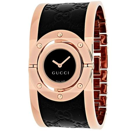 c2e6c652518 Gucci - Twirl Black Dial Pink Gold PVD and Black Leather Ladies Watch  YA112438 - Walmart.com