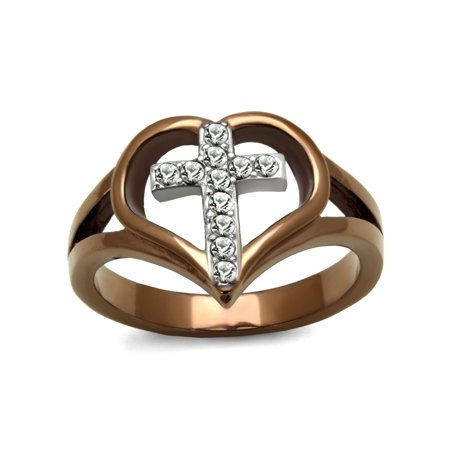 Top Grade Crystal Cross in Heart Two-Tone Light Coffee IP Stainless Steel Ring - Size 5 Austrian Crystal Heart Ring