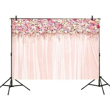 HelloDecor Polyster 7x5ft photography backdrops wedding decoration party pink floral Flower wall curtains Birthday Bridal shower banner photo studio booth background photocall (Flower Banner)