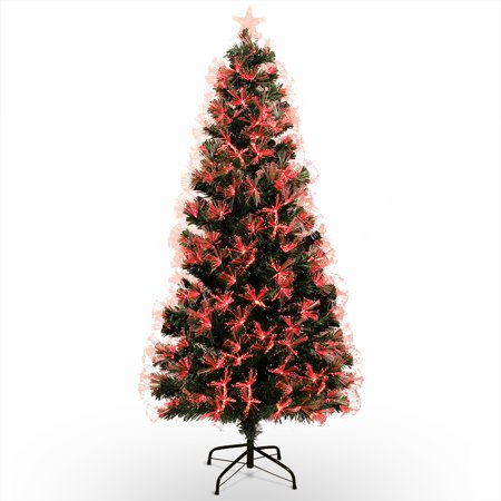 BELLEZE 7FT Prelit Fiber Fiber Optic & Multicolor LED Lights Artificial Christmas Tree with Stand ()