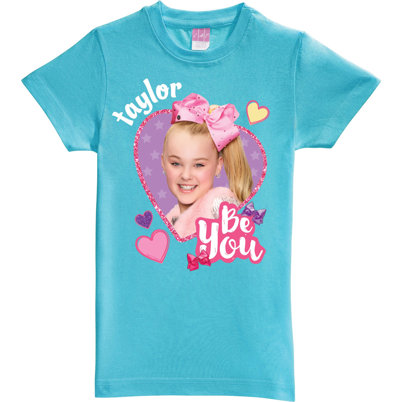 Personalized JoJo Siwa T-Shirt - Be You Aqua Youth Fitted Tee