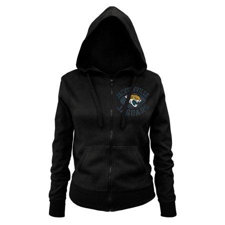 NFL Jacksonville Jaguars Ladies Zipped Hooded Fleece, Black, Large by