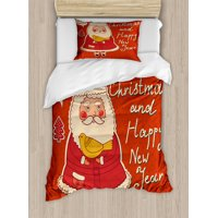 Christmas Twin Size Duvet Cover Set, Happy New Year Retro Illustration with Cute Santa Claus Holding Yellow Bird, Decorative 2 Piece Bedding Set with 1 Pillow Sham, Orange Ivory, by Ambesonne