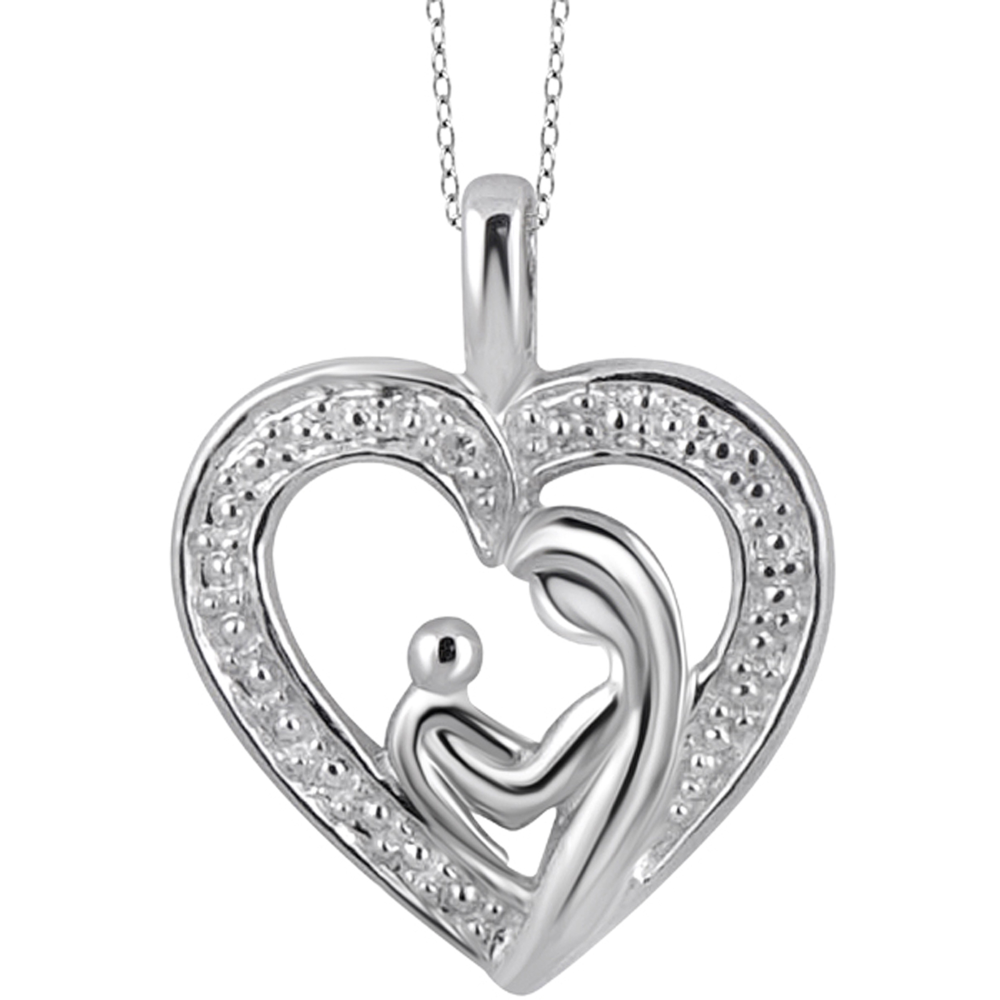 Genuine Diamond Accent Mother & Child Heart Pendant in Sterling Silver