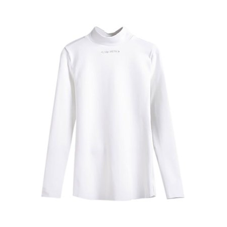Women Turtleneck Letter Embroidered T Shirt Slim Pullover Tops Long-Sleeved T-Shirt