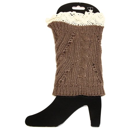 Falari Women Crochet Knitted Leg Warmer - Blue Furry Leg Warmers